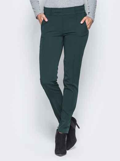 Зеленые брюки с отстроченными стрелками 15724, фото 1