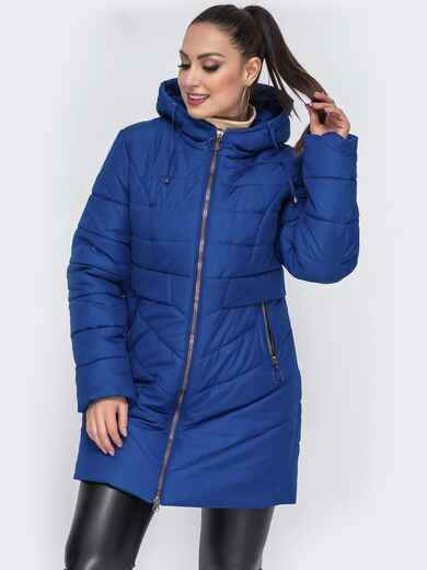 Зимняя куртка приталенного кроя синяя - 44057, фото 1 – интернет-магазин Dressa