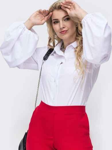 Белая блузка батал из софта с рукавами-буфами 50924, фото 2