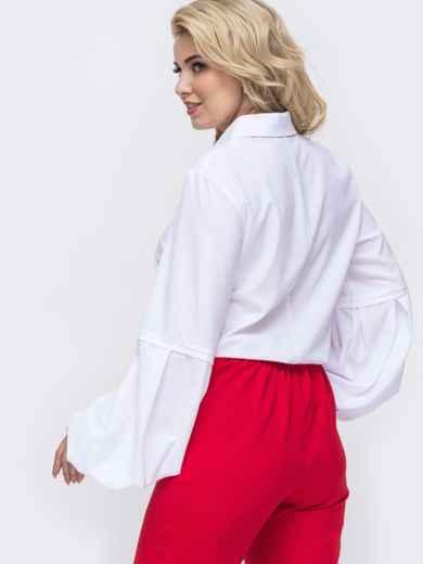 Белая блузка батал из софта с рукавами-буфами 50924, фото 3
