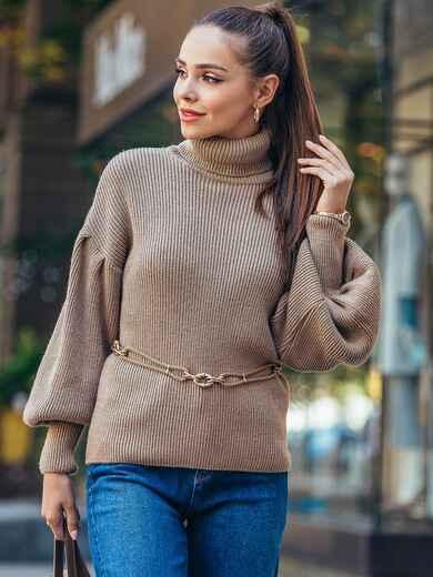 Бежевый свитер с объемными рукавами и высоким воротником 50378, фото 1