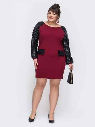 """Бордовое платье с рукавом """"реглан"""" 43828, фото 1"""
