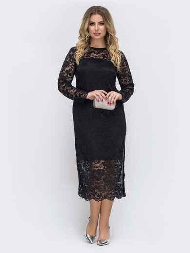 Чёрное платье большого размера из гипюра 43773, фото 1