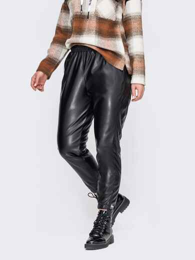 Черные брюки большого размера из эко-кожи  52719, фото 1