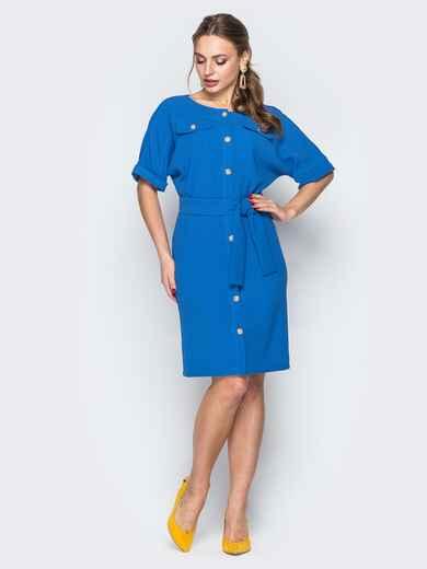 Голубое платье-рубашка с цельнокроеным рукавом 19381, фото 1