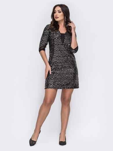 Платье-мини большого размера с серебристыми пайетками 43342, фото 1
