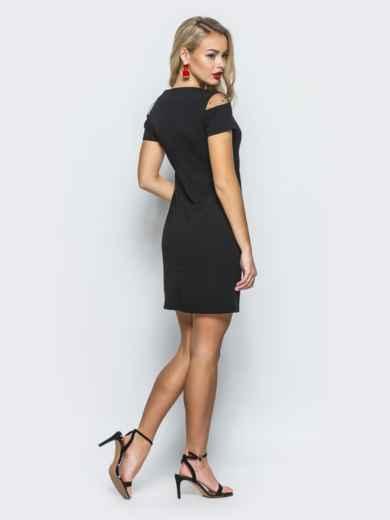 Платье с сеткой в горох черное - 12462, фото 3 – интернет-магазин Dressa