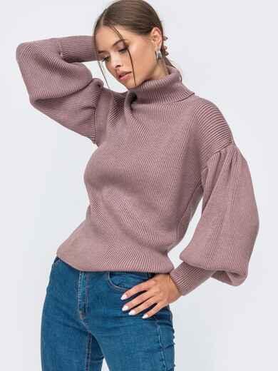 Пудровый свитер с объемными рукавами и высоким воротником 50377, фото 1