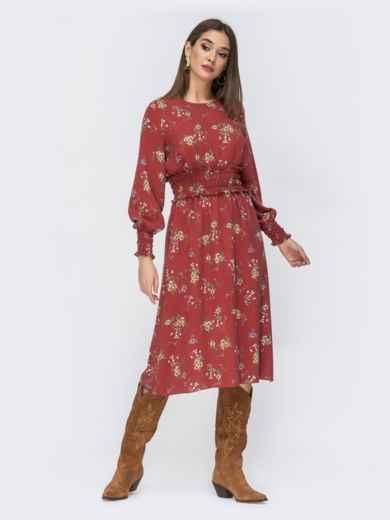Расклешенное платье с принтом коричневое 44212, фото 2