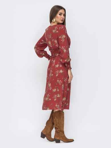 Расклешенное платье с принтом коричневое 44212, фото 3
