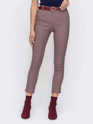 """Укороченные брюки с принтом """"гусиная лапка"""" пудровые - 41539, фото 1 – интернет-магазин Dressa"""