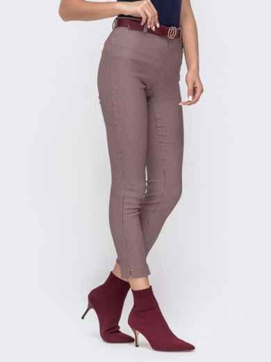 """Укороченные брюки с принтом """"гусиная лапка"""" пудровые - 41539, фото 2 – интернет-магазин Dressa"""