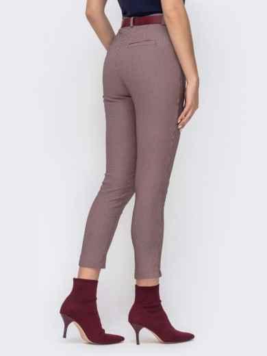 """Укороченные брюки с принтом """"гусиная лапка"""" пудровые - 41539, фото 3 – интернет-магазин Dressa"""