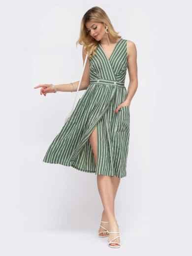 Зёленое платье на запах в узкую полосу  48049, фото 2