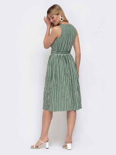 Зёленое платье на запах в узкую полосу  48049, фото 3