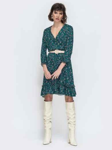 Зеленое платье с принтом и воланом по низу - 45066, фото 2 – интернет-магазин Dressa