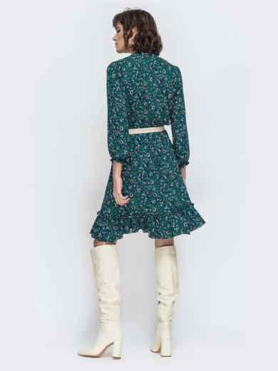 Зеленое платье с принтом и воланом по низу - 45066, фото 3 – интернет-магазин Dressa