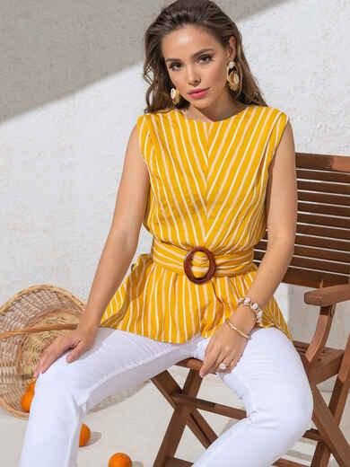 Желтая блузка в полоску с асимметричной баской 49123, фото 1