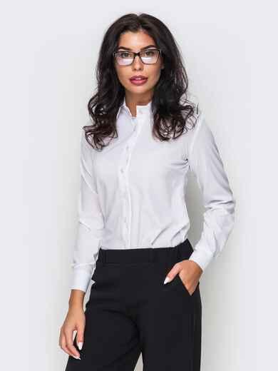 Белая блузка из крепдешина с длинным рукавом - 10141, фото 1 – интернет-магазин Dressa