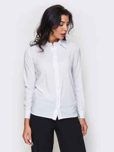 Белая блузка из крепдешина с длинным рукавом - 10141, фото 2 – интернет-магазин Dressa