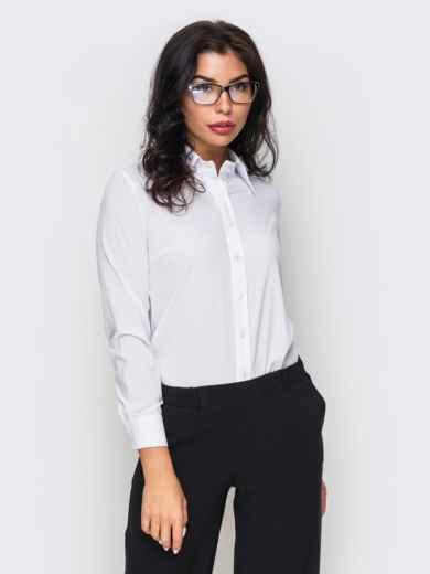 Белая блузка из крепдешина с длинным рукавом - 10141, фото 3 – интернет-магазин Dressa