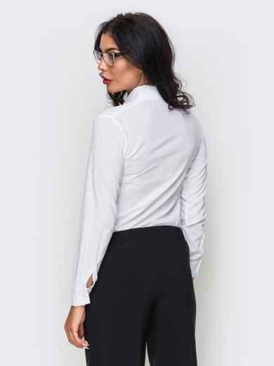Белая блузка из крепдешина с длинным рукавом - 10141, фото 4 – интернет-магазин Dressa