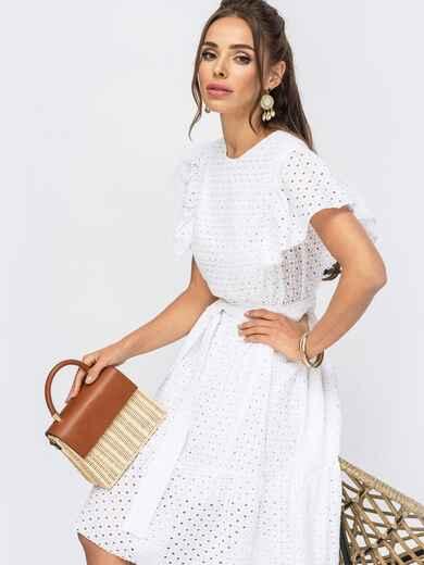 Белое платье с широким воланом по подолу 53984, фото 1