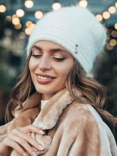 Двойная шапка белого цвета с люрексом  55343, фото 1