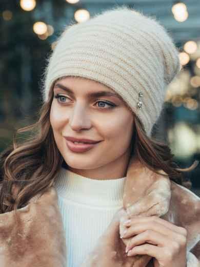 Двойная шапка бежевого цвета с люрексом  55344, фото 1