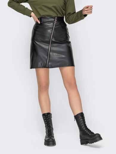 Чёрная юбка из экокожи на молнии 53326, фото 1