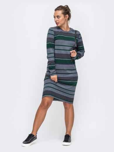 Серое вязаное платье в полосу прямого кроя 50442, фото 1