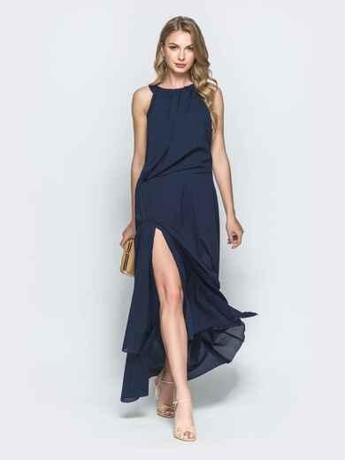 Синее платье-макси с американской проймой и разрезом 39077, фото 1
