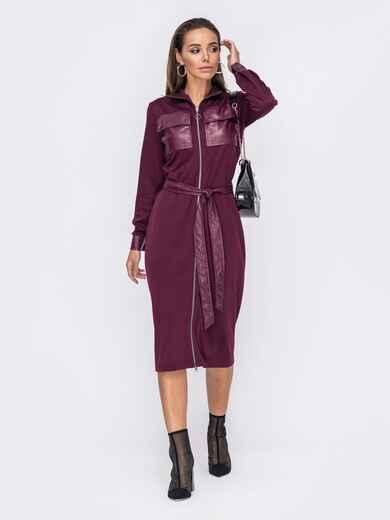 Трикотажное платье с карманами из экокожи бордовое 53262, фото 1