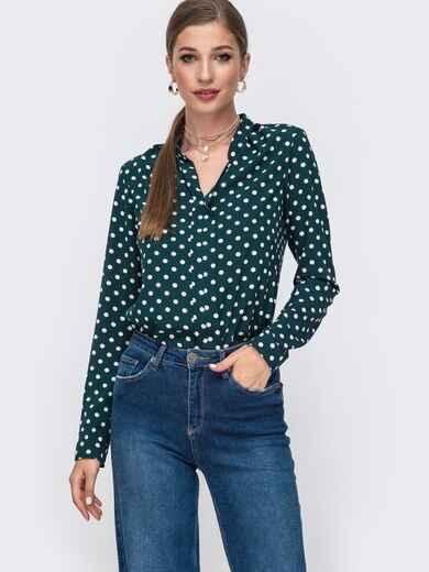 Зеленая блузка в горох с V-вырезом 49963, фото 1