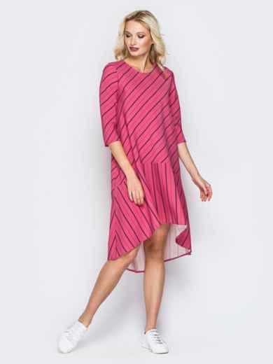 Розовое платье в полоску со шлейфом и воланом по низу 19903, фото 1