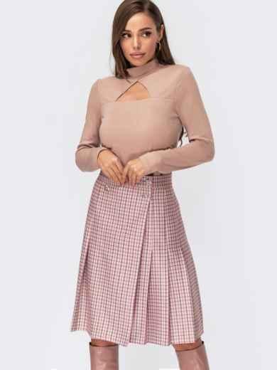 Розовая юбка на запах со складками и пуговицами 55600, фото 1