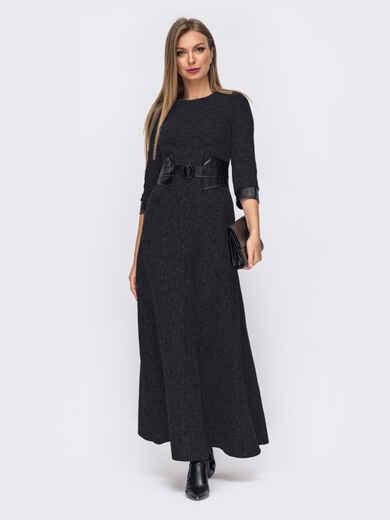 Чёрное платье с вшитым поясом из эко-кожи 51532, фото 1