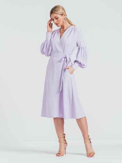 Фиолетовое платье на запах с объемными рукавами 45840, фото 1