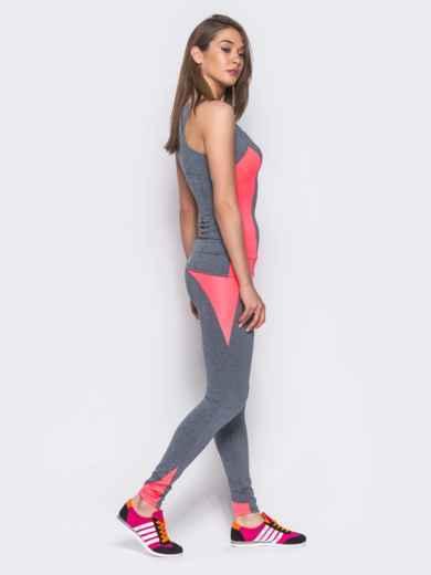 Комплект для фитнеса с розовыми вставками - 10494, фото 2 – интернет-магазин Dressa