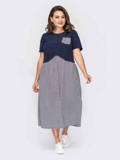 Платье батал с контрастным верхом синее 53953, фото 1