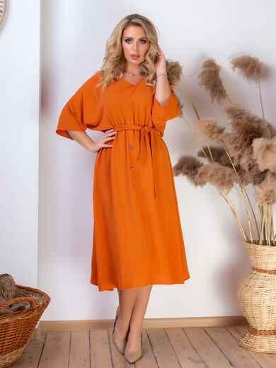 Платье батал с резинкой по талии терракотовое 46465, фото 1