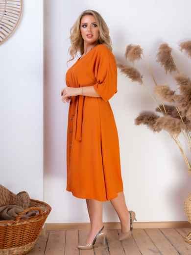 Платье батал с резинкой по талии терракотовое 46465, фото 3