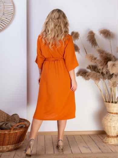 Платье батал с резинкой по талии терракотовое 46465, фото 4
