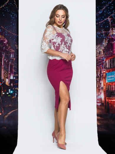 Платье бордового цвета с болеро в комплекте - 18294, фото 2 – интернет-магазин Dressa
