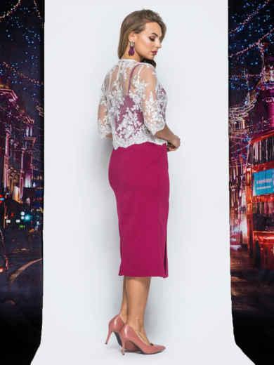 Платье бордового цвета с болеро в комплекте - 18294, фото 3 – интернет-магазин Dressa