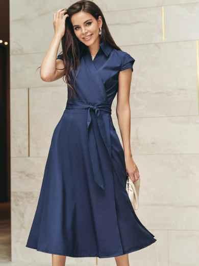 """Платье на запах с двухъярусным рукавом """"крылышко"""" синее 22028, фото 1"""