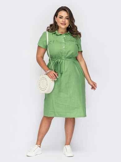 Платье-рубашка из льна большого размера зеленое 53955, фото 1