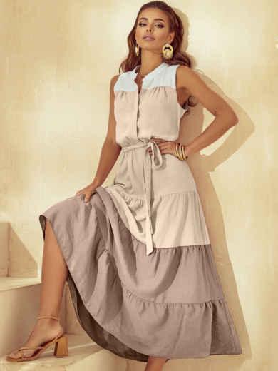 Расклешенное платье-макси без рукавов с воротником-стойкой бежевое 54255, фото 1