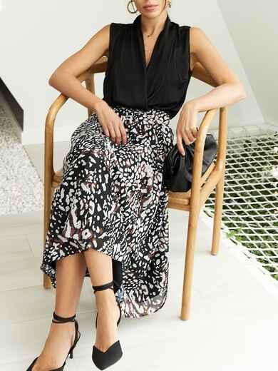 Шифоновая юбка-миди с абстрактным принтом черная 53876, фото 1