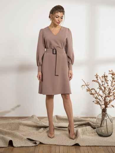Бежевое платье с расклешенной юбкой - 44207, фото 2 – интернет-магазин Dressa
